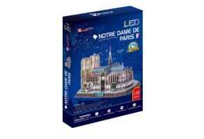 3D пъзел - Катедралата 'Нотр Дам' в Париж с LED светлини