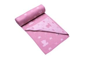 Бебешко одеяло от органичен памук в розов цвят