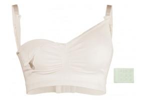 Безшевен сутиен за кърмачки органичен памук бял L