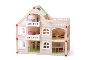 Двуетажна дървена къща, с тераса, с аксесоари и кукли