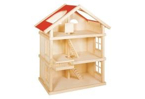 Дървена къща за кукли на 3 етажа