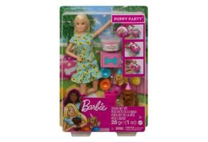 Кукла Barbie - Игрален комплект: Парти с кученца