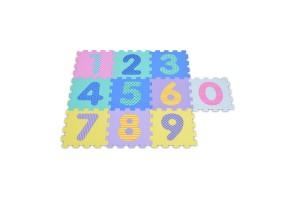 Мек пъзел-килим Moni Toys, Цифри, двустранен, 10 елемента, многоцветен