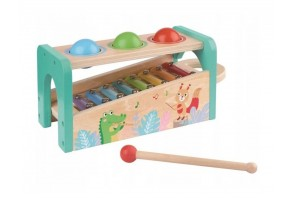Музикален свят - бебешки ксилофон с чукче и топки