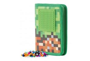 Плосък несесер за моливи Pixie PXA-04, Mine&Craft/зелен