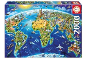 Пъзел EDUCA WORLD LANDMARKS GLOBE 2000ч 17129