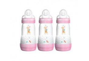 Шише Easy S. Anti-Colic Bottle 260 ml 3 бр розови