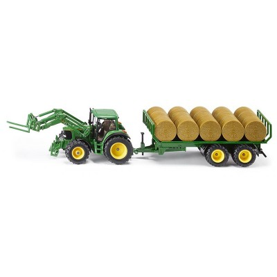 Играчка JOHN DEERE WITH TRAILER FOR ROUND BALES